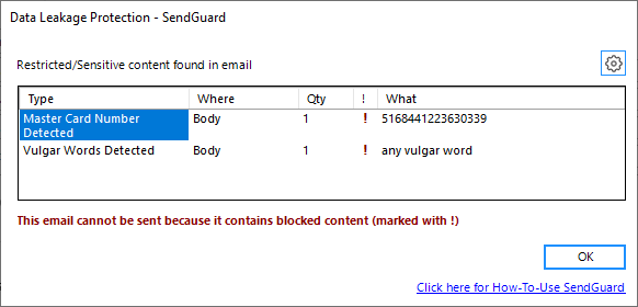 SendGuard DLP blocked prompt